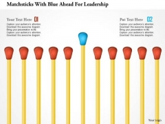 Matchsticks With Blue Ahead For Leadership PowerPoint Template