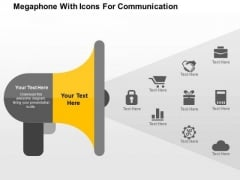 Megaphone With Icons For Communication PowerPoint Template