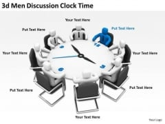 Men At Work Business As Usual 3d Discussion Clock Time PowerPoint Templates