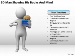 Men At Work Business As Usual 3d Man Showing His Books And Mind PowerPoint Templates