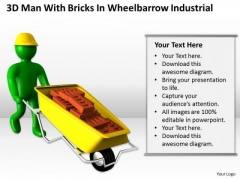 Men At Work Business As Usual 3d Man With Bricks Wheelbarrow Industrial PowerPoint Templates
