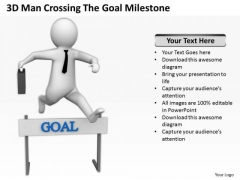 Men In Business 3d Man Crossing The Goal Milestone PowerPoint Templates Ppt Backgrounds For Slides