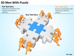 Men In Business 3d With Puzzle PowerPoint Templates