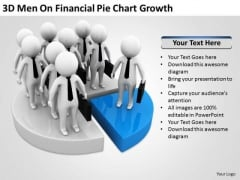 Men In Business On Financial Pie Chart Growth PowerPoint Templates Ppt Backgrounds For Slides