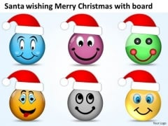 Merry Christmas With Santa Wishes Happiness Joy PowerPoint Templates