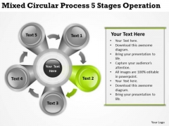 Mixed Circular Process 5 Stages Operation Ppt Business Plan PowerPoint Template