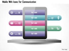 Mobile With Icons For Communication PowerPoint Template