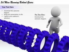 Modern Marketing Concepts 3d Man Running Behind Gears Basic Business