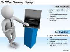 Modern Marketing Concepts 3d Man Showing Laptop Business