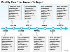 Monthly Plan From January To August PowerPoint Templates Ppt Slides Graphics