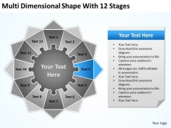 Multi Dimensional Shape With 12 Stages Ppt Build Business Plan PowerPoint Templates