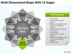 Multi Dimensional Shape With 12 Stages Ppt Create Business Plan Free PowerPoint Templates