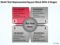 Multi Text Represented Square Block With 4 Stages Ppt Business Plan For Spa PowerPoint Templates