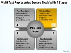 Multi Text Represented Square Block With 4 Stages Ppt Business Plan PowerPoint Slides