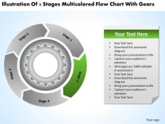 Multicolored Flow Chart With Gears Business Plan Template PowerPoint Slides