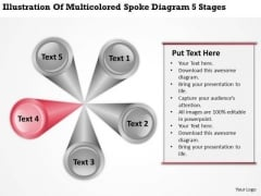 Multicolored Spoke Diagram 5 Stages Business Plan Template PowerPoint Slides