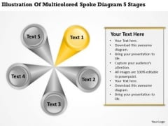 Multicolored Spoke Diagram 5 Stages Designing Business Plan PowerPoint Templates