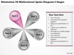 Multicolored Spoke Diagram 5 Stages Ppt Insurance Agency Business Plan PowerPoint Templates
