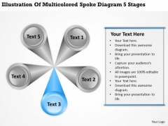 Multicolored Spoke Diagram 5 Stages Writing Business Plan Template PowerPoint Slides