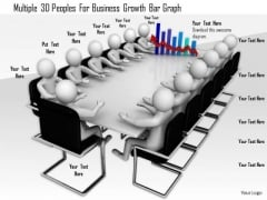 Multiple 3d Peoples For Business Growth Bar Graph
