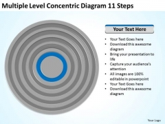 Multiple Level Concentric Diagram 11 Steps How To Plan Business PowerPoint Templates