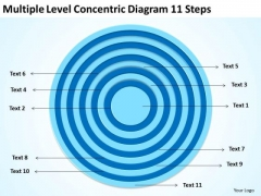 Multiple Level Concentric Diagram 11 Steps Ppt Business Plan Templates PowerPoint