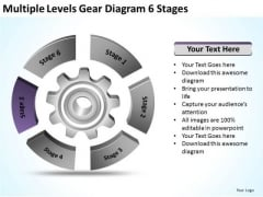 Multiple Levels Gear Diagram 6 Stages Ppt Business Plan PowerPoint Slides