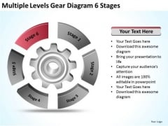 Multiple Levels Gear Diagram 6 Stages Ppt Church Business Plan Template PowerPoint Slides