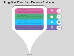 Navigation Point Four Banners And Icons Powerpoint Template