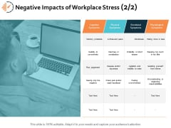 Negative Impacts Of Workplace Stress Business Ppt PowerPoint Presentation Infographic Template Vector