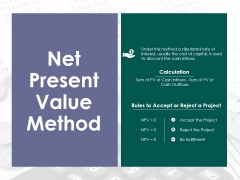 Net Present Value Method Ppt PowerPoint Presentation Gallery Graphics Example