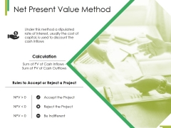 Net Present Value Method Ppt PowerPoint Presentation Layouts Design Inspiration