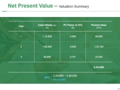 Net Present Value Valuation Summary Ppt PowerPoint Presentation Layouts Good