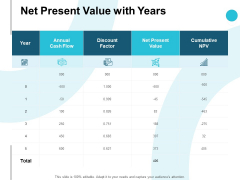 Net Present Value With Years Ppt PowerPoint Presentation Layouts Graphics Download
