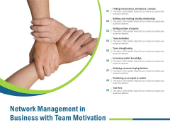 Network Management In Business With Team Motivation Ppt PowerPoint Presentation Outline Designs