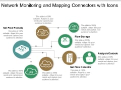 Network Monitoring And Mapping Connectors With Icons Ppt PowerPoint Presentation File Summary