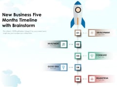 New Business Five Months Timeline With Brainstorm Ppt PowerPoint Presentation Styles Examples PDF