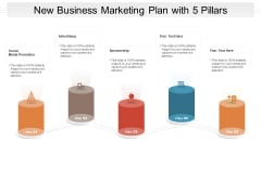 New Business Marketing Plan With 5 Pillars Ppt PowerPoint Presentation Inspiration Infographics PDF