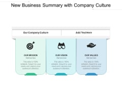 New Business Summary With Company Culture Ppt PowerPoint Presentation Gallery Good PDF