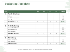 New Commodity Modification Scheme Budgeting Template Ppt Infographics Elements PDF