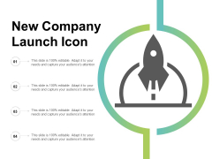 New Company Launch Icon Ppt Powerpoint Presentation File Deck
