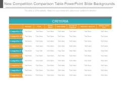 New Competition Comparison Table Powerpoint Slide Backgrounds