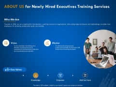New Employee Onboard About Us For Newly Hired Executives Training Services Ppt Styles Templates PDF