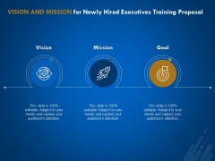 New Employee Onboard Vision And Mission For Newly Hired Executives Training Proposal Ppt Professional Designs PDF