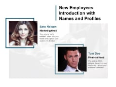 New Employees Introduction With Names And Profiles Ppt Powerpoint Presentation Show Introduction