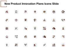 New Product Innovation Plans Icons Slide Target Ppt PowerPoint Presentation File Maker