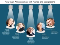 new team announcement with names and designations ppt powerpoint presentation model tips