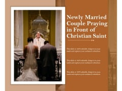Newly Married Couple Praying In Front Of Christian Saint Ppt PowerPoint Presentation Portfolio Themes PDF