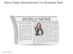 News Paper Advertisement For Business Deal Ppt Summary