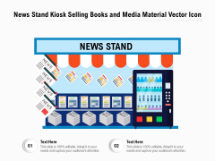 News Stand Kiosk Selling Books And Media Material Vector Icon Ppt PowerPoint Presentation File Portfolio PDF